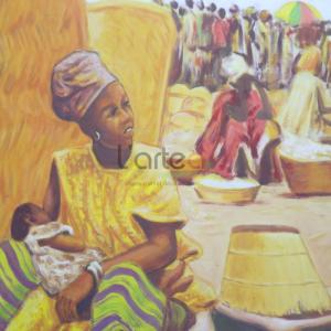 Tableau - Vie du village - Omar faye